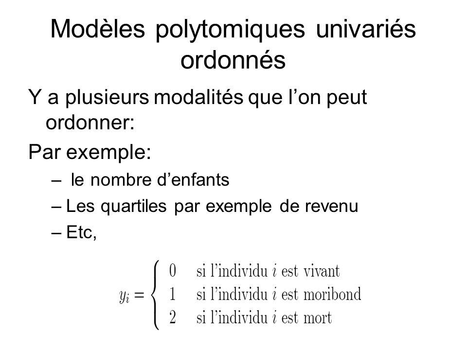 Modèles polytomiques univariés ordonnés Y a plusieurs modalités que lon peut ordonner: Par exemple: – le nombre denfants –Les quartiles par exemple de