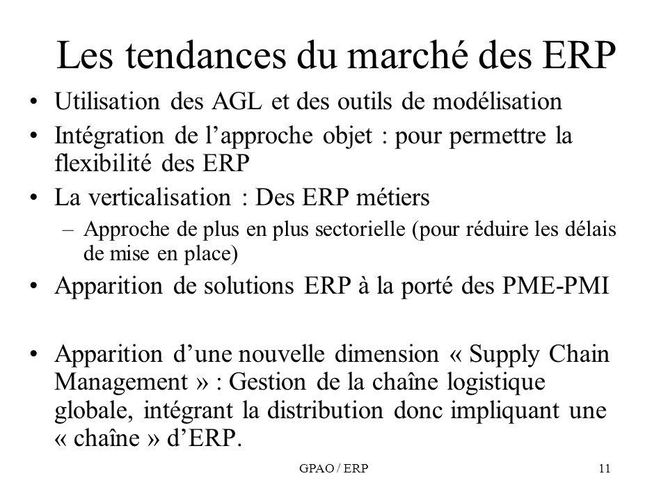 GPAO / ERP11 Les tendances du marché des ERP Utilisation des AGL et des outils de modélisation Intégration de lapproche objet : pour permettre la flex