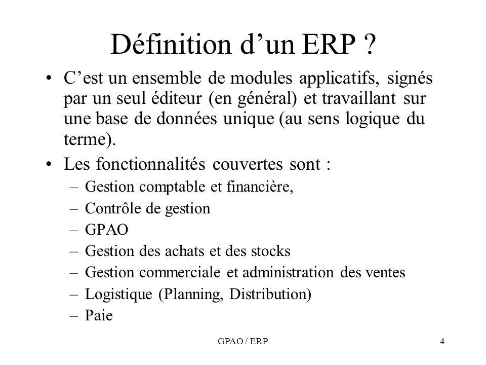 GPAO / ERP4 Définition dun ERP ? Cest un ensemble de modules applicatifs, signés par un seul éditeur (en général) et travaillant sur une base de donné
