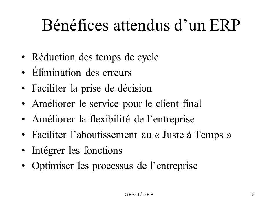 6 Bénéfices attendus dun ERP Réduction des temps de cycle Élimination des erreurs Faciliter la prise de décision Améliorer le service pour le client f