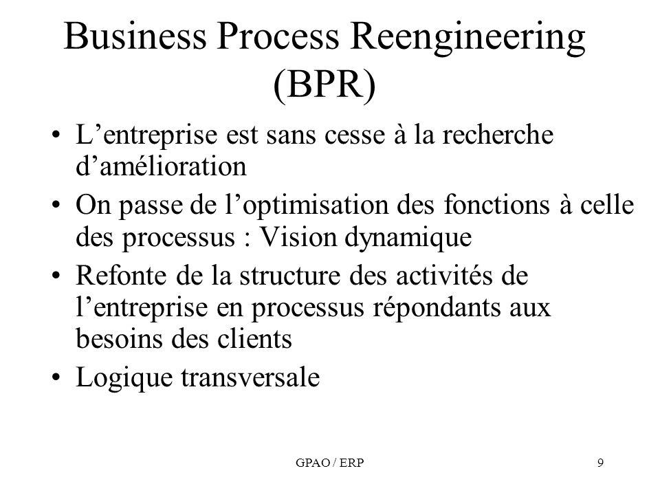 GPAO / ERP9 Business Process Reengineering (BPR) Lentreprise est sans cesse à la recherche damélioration On passe de loptimisation des fonctions à cel