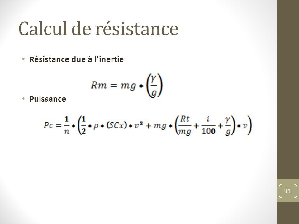 Calcul de résistance Résistance due à linertie Puissance 11