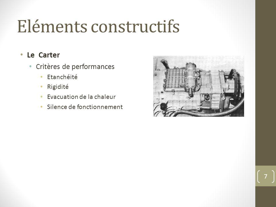 Eléments constructifs Le Carter Critères de performances Etanchéité Rigidité Evacuation de la chaleur Silence de fonctionnement 7
