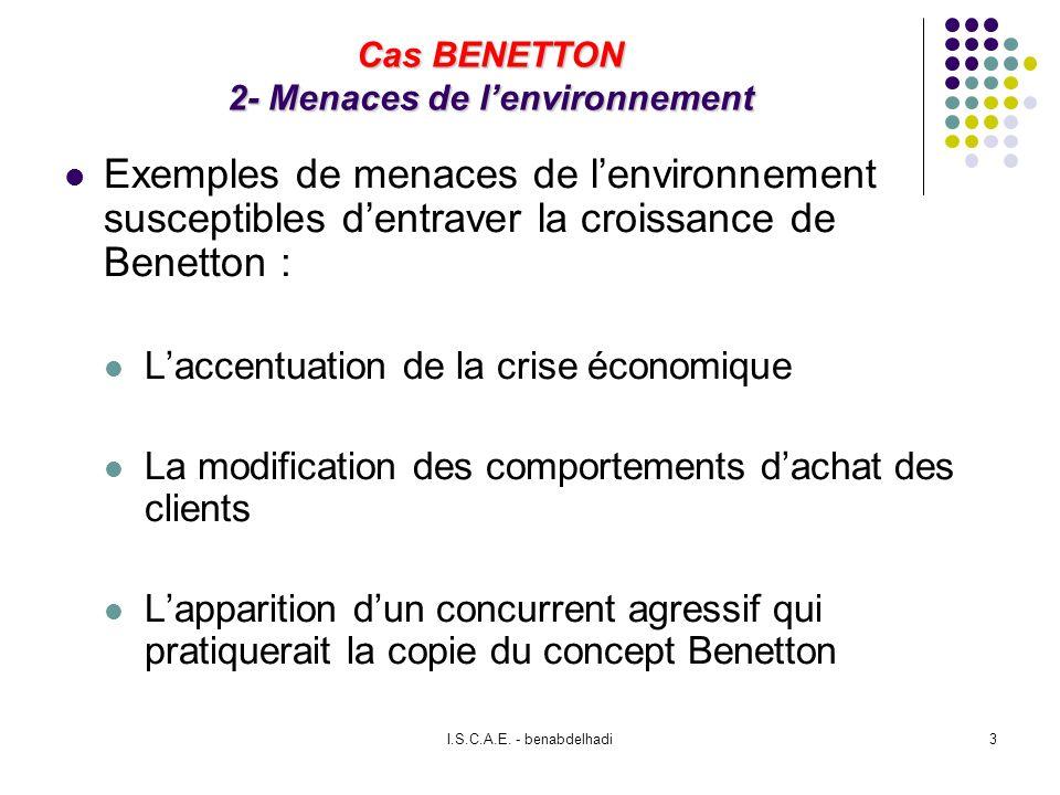 I.S.C.A.E. - benabdelhadi3 Cas BENETTON 2- Menaces de lenvironnement Exemples de menaces de lenvironnement susceptibles dentraver la croissance de Ben