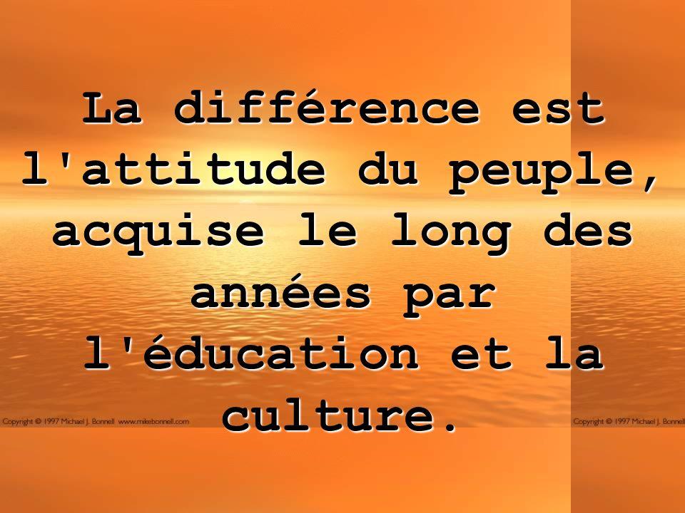 La différence est l'attitude du peuple, acquise le long des années par l'éducation et la culture.