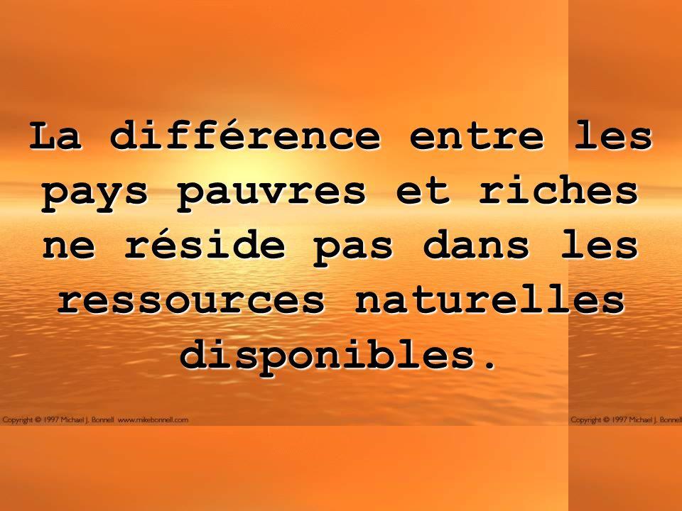 La différence entre les pays pauvres et riches ne réside pas dans les ressources naturelles disponibles.