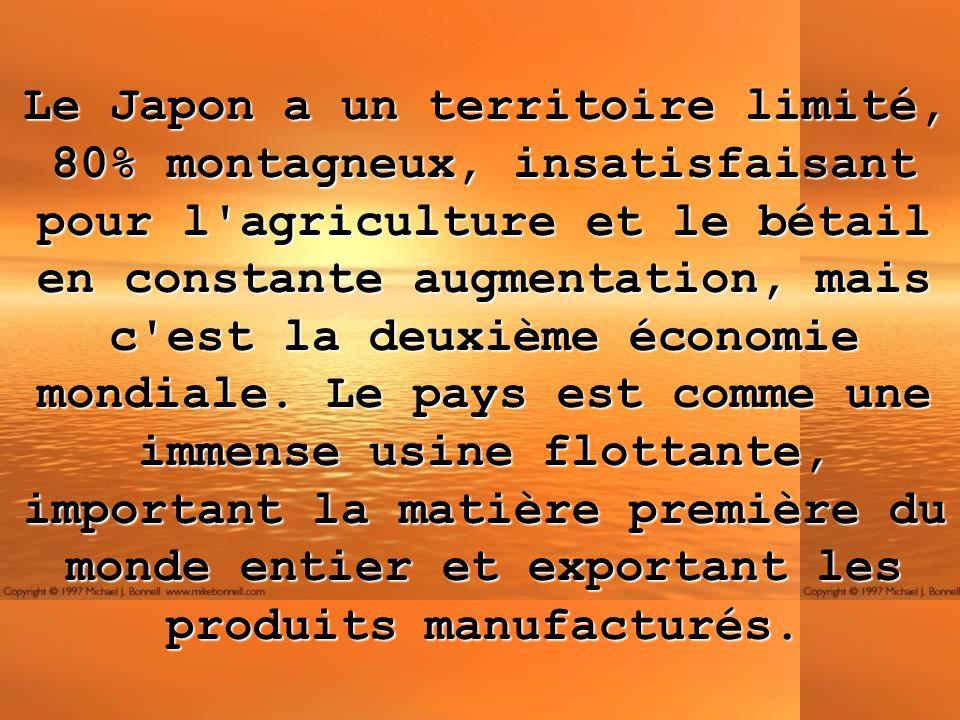 Le Japon a un territoire limité, 80% montagneux, insatisfaisant pour l agriculture et le bétail en constante augmentation, mais c est la deuxième économie mondiale.