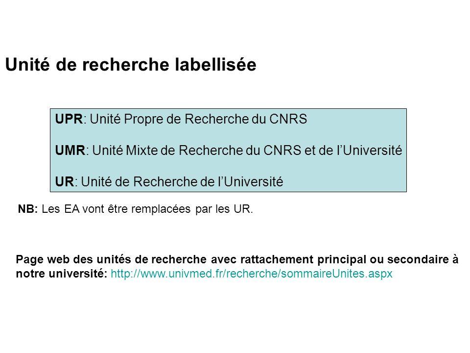 Unité de recherche labellisée UPR: Unité Propre de Recherche du CNRS UMR: Unité Mixte de Recherche du CNRS et de lUniversité UR: Unité de Recherche de lUniversité NB: Les EA vont être remplacées par les UR.