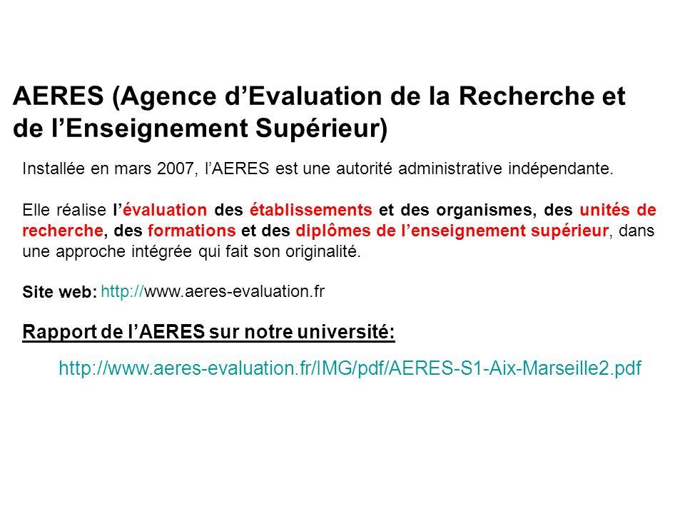 AERES (Agence dEvaluation de la Recherche et de lEnseignement Supérieur) Installée en mars 2007, lAERES est une autorité administrative indépendante.
