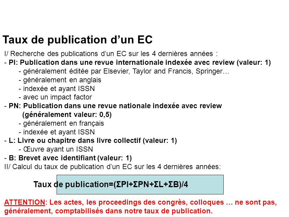 Taux de publication dun EC I/ Recherche des publications dun EC sur les 4 dernières années : - PI: Publication dans une revue internationale indexée avec review (valeur: 1) - généralement éditée par Elsevier, Taylor and Francis, Springer… - généralement en anglais - indexée et ayant ISSN - avec un impact factor - PN: Publication dans une revue nationale indexée avec review (généralement valeur: 0,5) - généralement en français - indexée et ayant ISSN - L: Livre ou chapitre dans livre collectif (valeur: 1) - Œuvre ayant un ISSN - B: Brevet avec identifiant (valeur: 1) II/ Calcul du taux de publication dun EC sur les 4 dernières années: Taux de publication=(ΣPI+ΣPN+ΣL+ΣB)/4 ATTENTION: Les actes, les proceedings des congrès, colloques … ne sont pas, généralement, comptabilisés dans notre taux de publication.