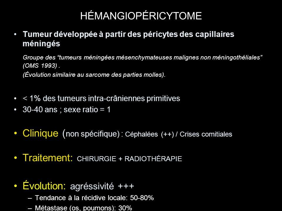 Tumeur développée à partir des péricytes des capillaires méningés Groupe des tumeurs méningées mésenchymateuses malignes non méningothéliales (OMS 199