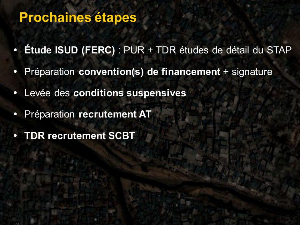 Étude ISUD (FERC) : PUR + TDR études de détail du STAP Préparation convention(s) de financement + signature Levée des conditions suspensives Préparation recrutement AT TDR recrutement SCBT Prochaines étapes