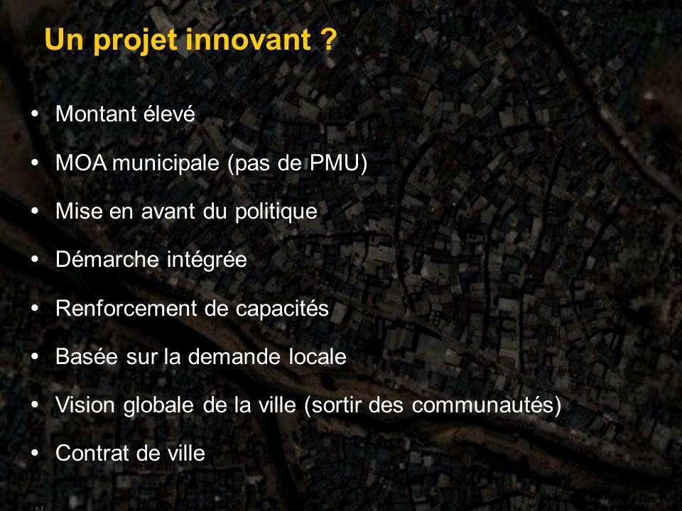 Montant élevé MOA municipale (pas de PMU) Mise en avant du politique Démarche intégrée Renforcement de capacités Basée sur la demande locale Vision globale de la ville (sortir des communautés) Contrat de ville Un projet innovant ?