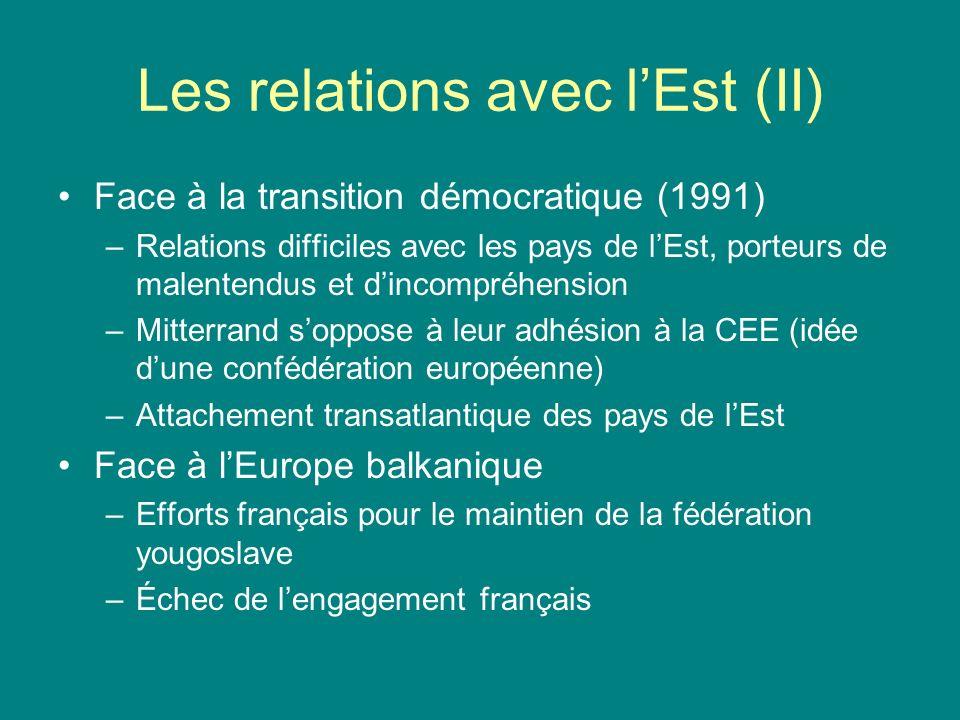 Les relations avec lEst (II) Face à la transition démocratique (1991) –Relations difficiles avec les pays de lEst, porteurs de malentendus et dincompr