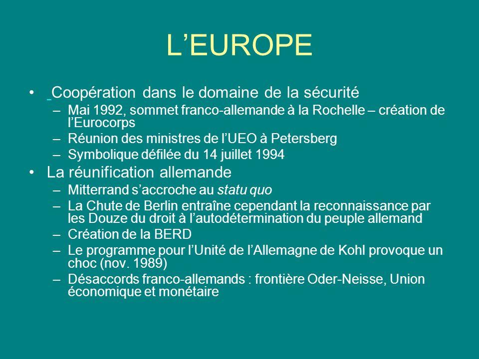 LEUROPE Coopération dans le domaine de la sécurité –Mai 1992, sommet franco-allemande à la Rochelle – création de lEurocorps –Réunion des ministres de