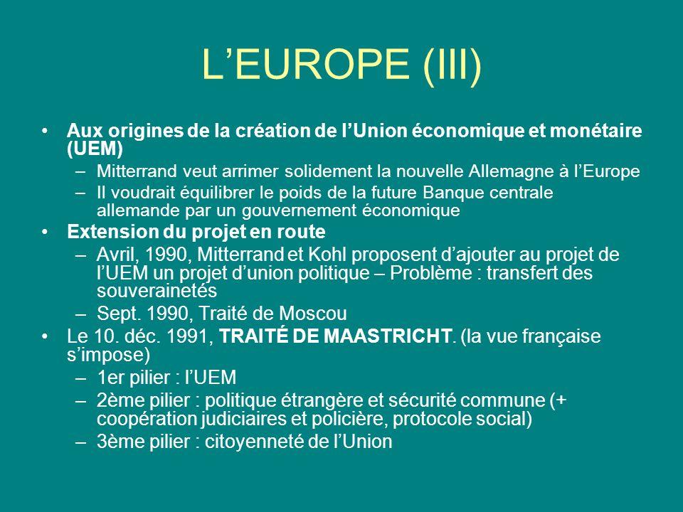 LEUROPE (III) Aux origines de la création de lUnion économique et monétaire (UEM) –Mitterrand veut arrimer solidement la nouvelle Allemagne à lEurope