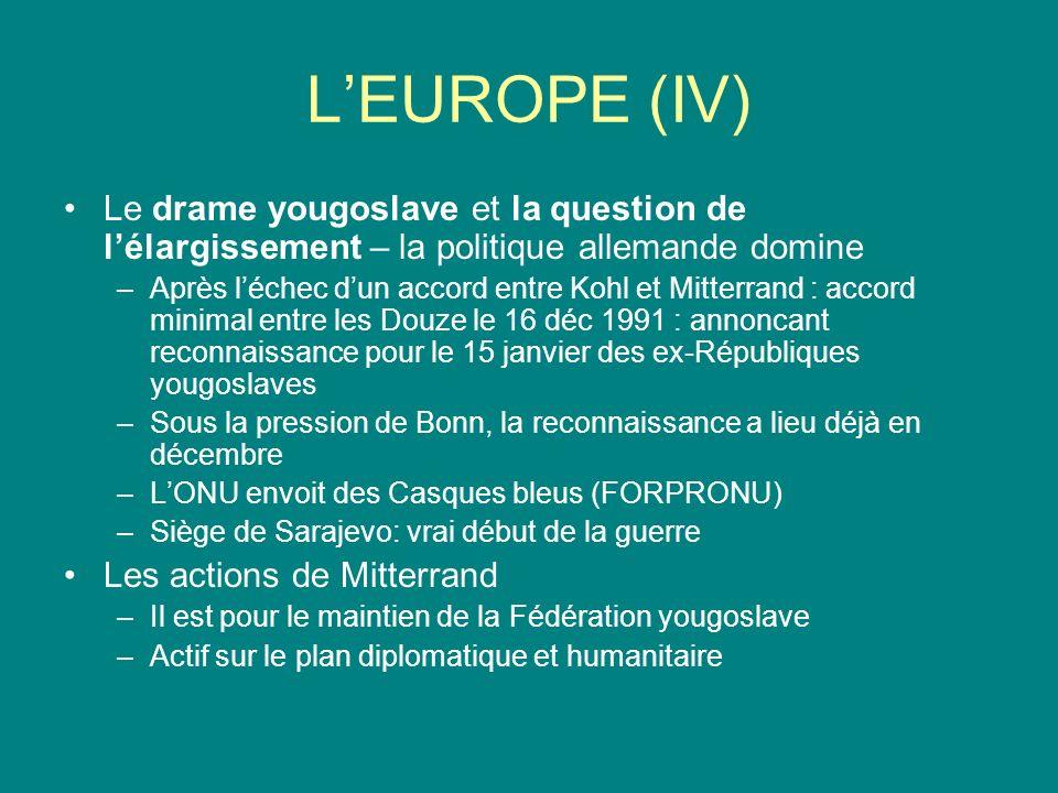 LEUROPE (IV) Le drame yougoslave et la question de lélargissement – la politique allemande domine –Après léchec dun accord entre Kohl et Mitterrand :