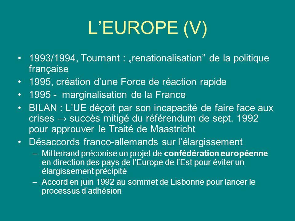 Les relations franco-américaines Aggravation des malentendus après la fin de la guerre froide Divergences sur lAlliance atlantique –La France veut transformer lOTAN en un organisme de coopération avec lEst –Compromis de Key Largo en avril 1990 –Juill.