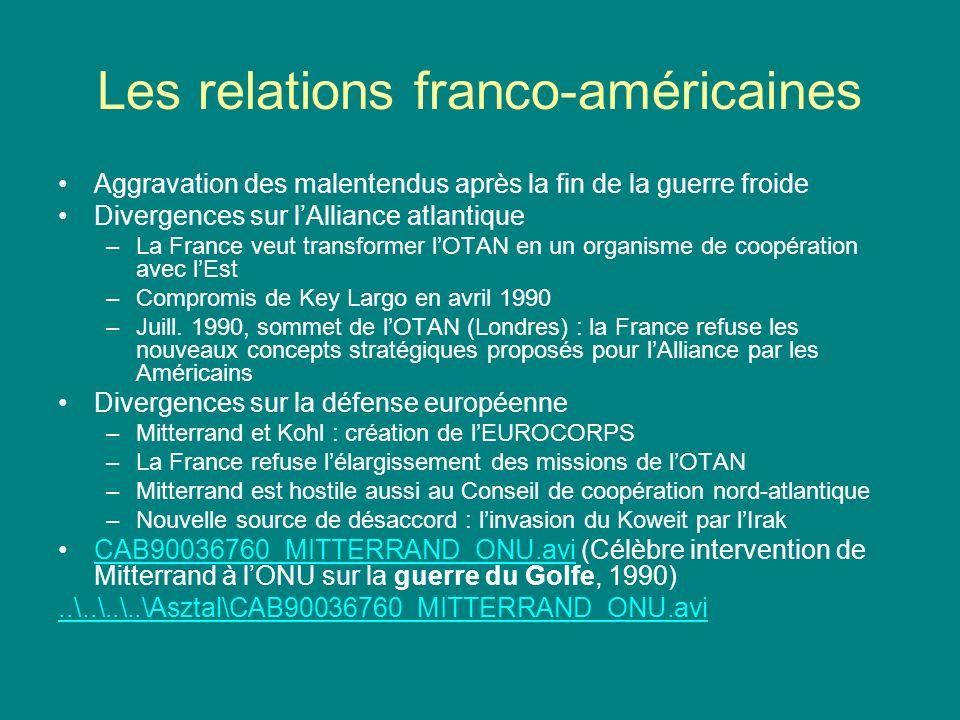 Les relations franco-américaines (II) –Les États-Unis font pression sur lAllemagne pour que lEurocorps serve au renforcement (et non à laffaiblissement) de lAlliance atlantique – sommet franco-allemand de mai 1992, la Rochelle –LOTAN décide de soutenir les activités de maintien de la paix des Européens – sommet dOslo en juin 1992 –Janvier 1993 : les relations entre lEurocorps et lOTAN sont précisées –1993/1994, retour de la détente : solutions de compromis