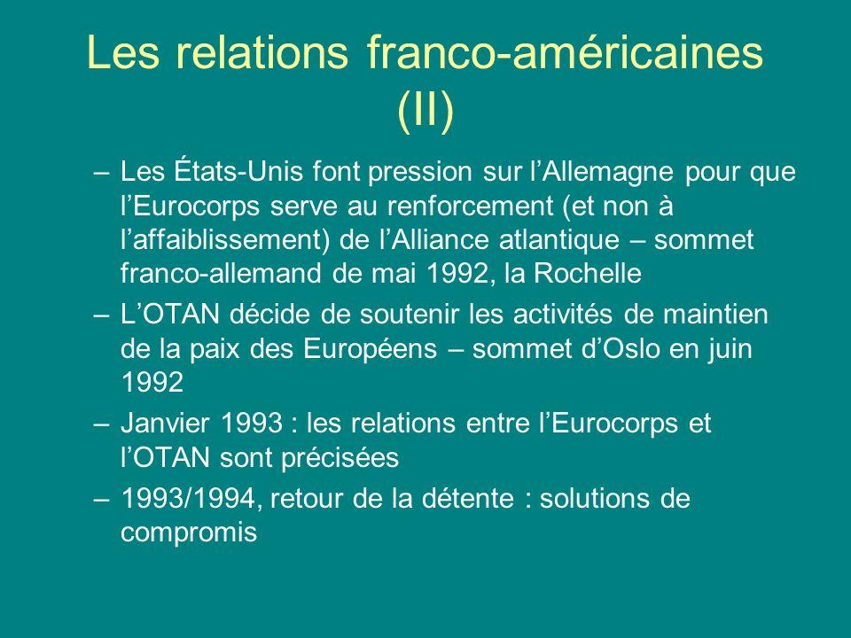 Les relations franco-américaines (III) Divergences dans le domaine commercial (Uruguay Round) –Sur les subventions agricoles Accord Blaire House en 1992 : réduction des subventions Accord agricole en 1994 –Sur lexception culturelle