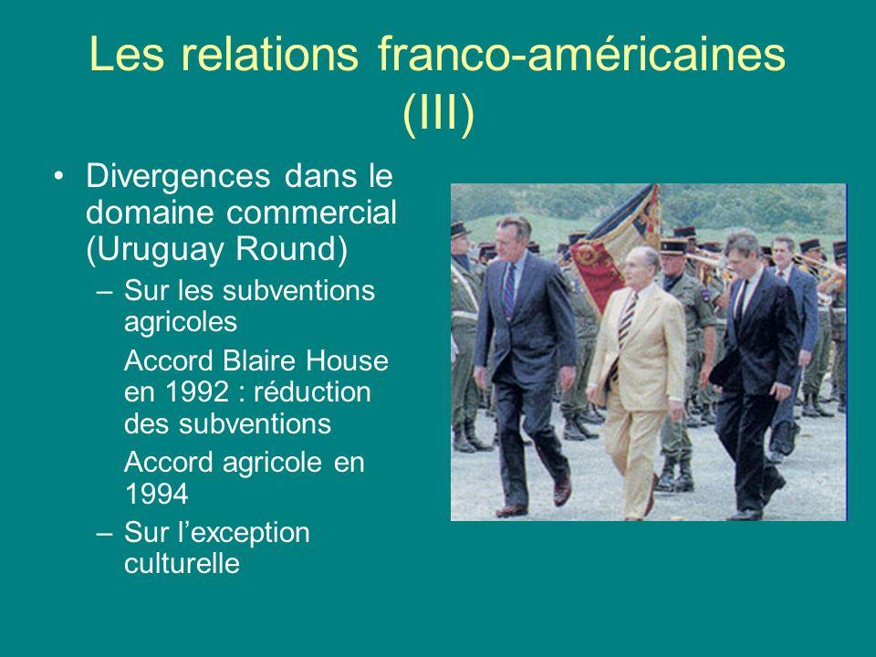 Les relations franco-américaines (III) Divergences dans le domaine commercial (Uruguay Round) –Sur les subventions agricoles Accord Blaire House en 19