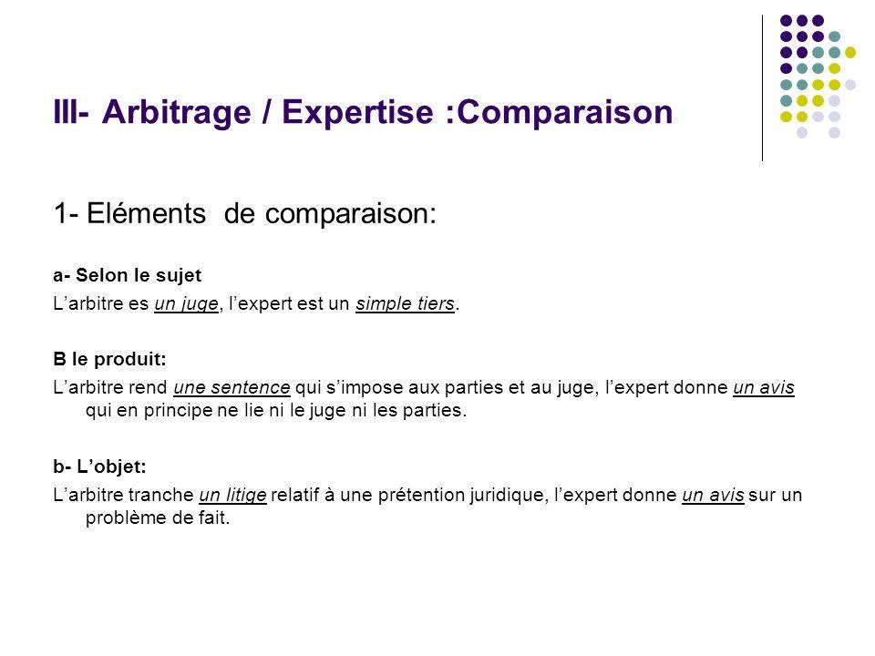 III- Arbitrage / Expertise :Comparaison 1- Eléments de comparaison: a- Selon le sujet Larbitre es un juge, lexpert est un simple tiers. B le produit: