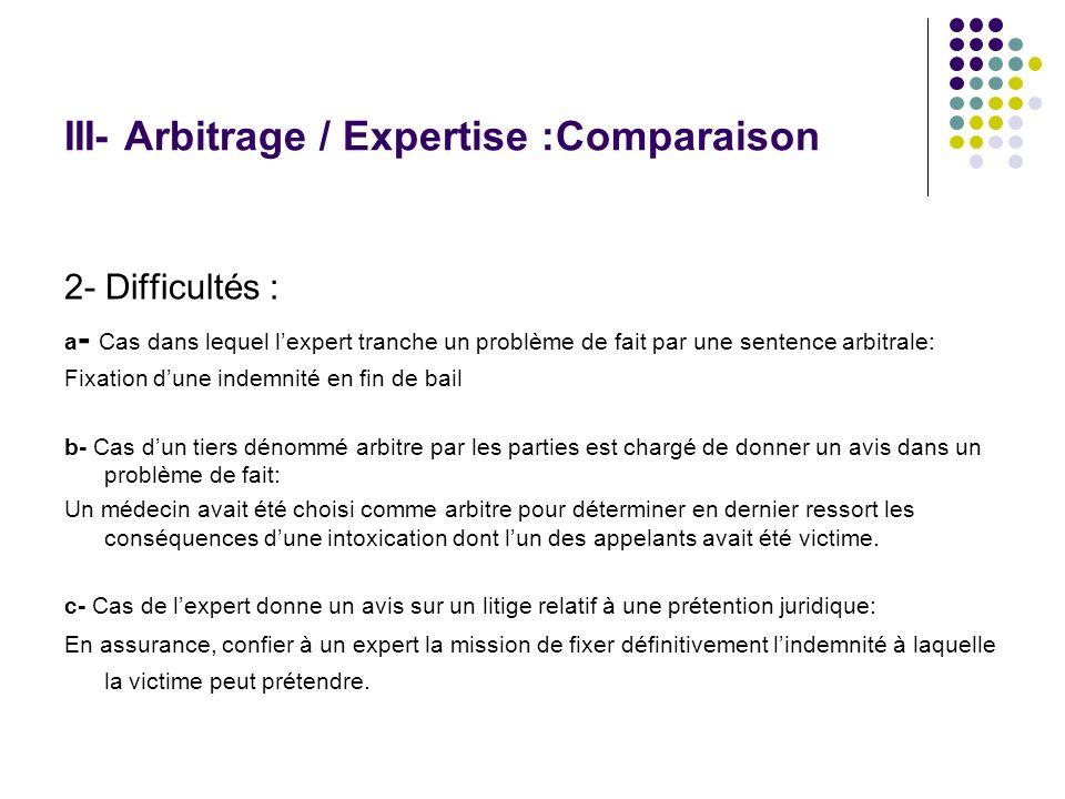 III- Arbitrage / Expertise :Comparaison 2- Difficultés : a - Cas dans lequel lexpert tranche un problème de fait par une sentence arbitrale: Fixation