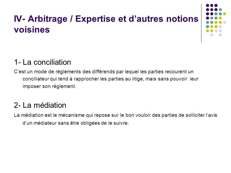 IV- Arbitrage / Expertise et dautres notions voisines 1- La conciliation Cest un mode de règlements des différends par lequel les parties recourent un