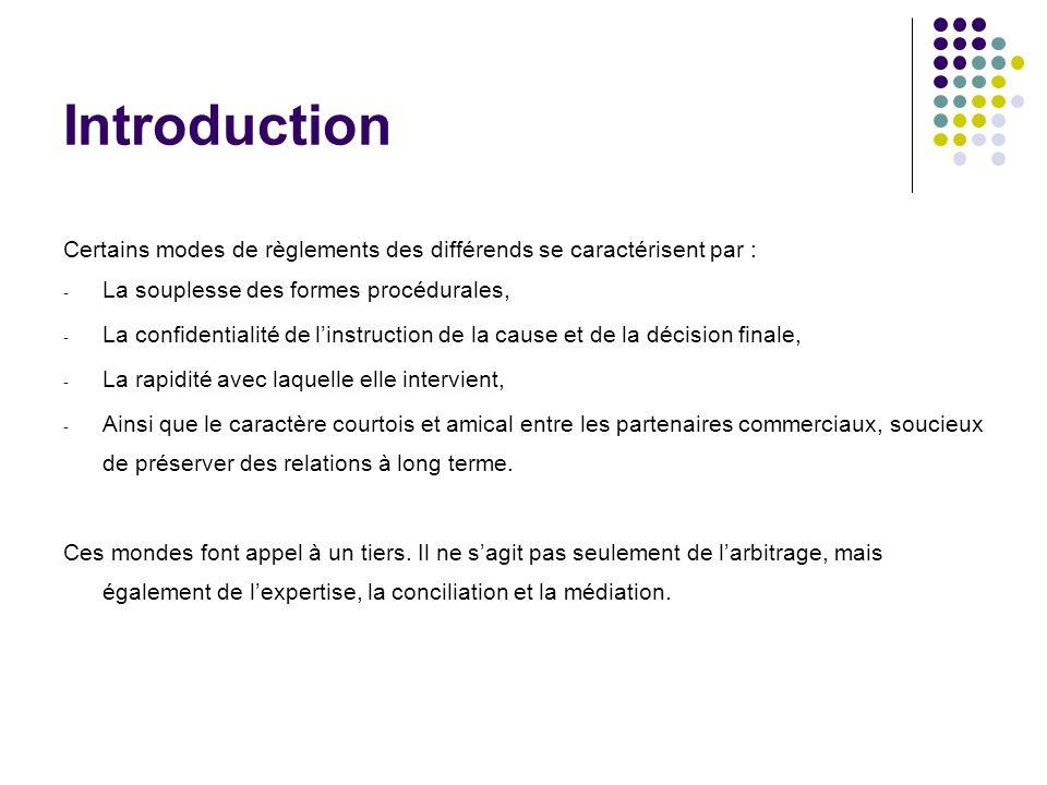 Introduction Certains modes de règlements des différends se caractérisent par : - La souplesse des formes procédurales, - La confidentialité de linstr