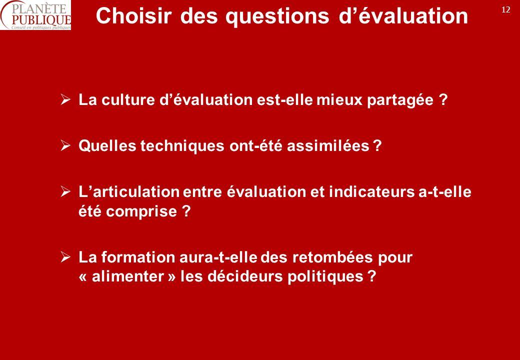 12 Choisir des questions dévaluation La culture dévaluation est-elle mieux partagée .