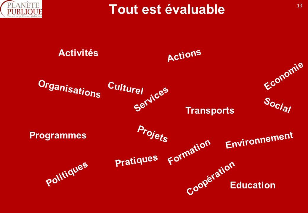 13 Tout est évaluable Actions Pratiques Organisations Services Activités Politiques Programmes Projets Environnement Culturel Economie Formation Transports Social Coopération Education