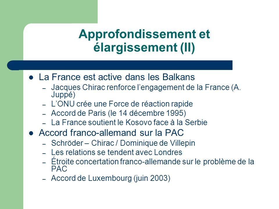 Approfondissement et élargissement (II) La France est active dans les Balkans – Jacques Chirac renforce lengagement de la France (A. Juppé) – LONU cré