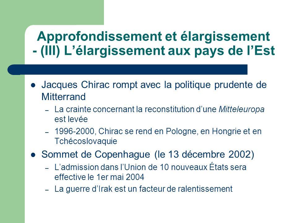 Approfondissement et élargissement - (III) Lélargissement aux pays de lEst Jacques Chirac rompt avec la politique prudente de Mitterrand – La crainte concernant la reconstitution dune Mitteleuropa est levée – 1996-2000, Chirac se rend en Pologne, en Hongrie et en Tchécoslovaquie Sommet de Copenhague (le 13 décembre 2002) – Ladmission dans lUnion de 10 nouveaux États sera effective le 1er mai 2004 – La guerre dIrak est un facteur de ralentissement