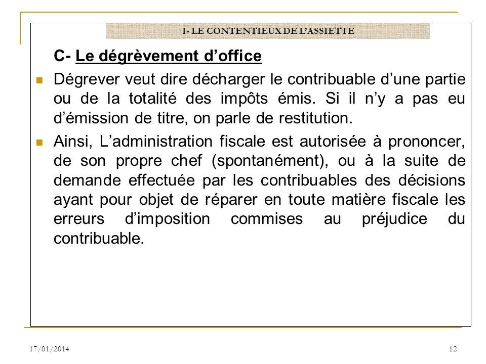 C- Le dégrèvement doffice Dégrever veut dire décharger le contribuable dune partie ou de la totalité des impôts émis. Si il ny a pas eu démission de t