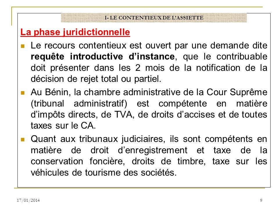 La phase juridictionnelle Le recours contentieux est ouvert par une demande dite requête introductive dinstance, que le contribuable doit présenter da