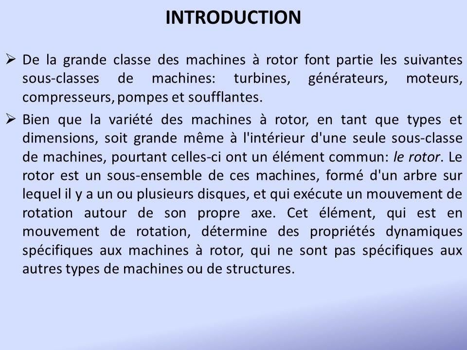 INTRODUCTION De la grande classe des machines à rotor font partie les suivantes sous-classes de machines: turbines, générateurs, moteurs, compresseurs