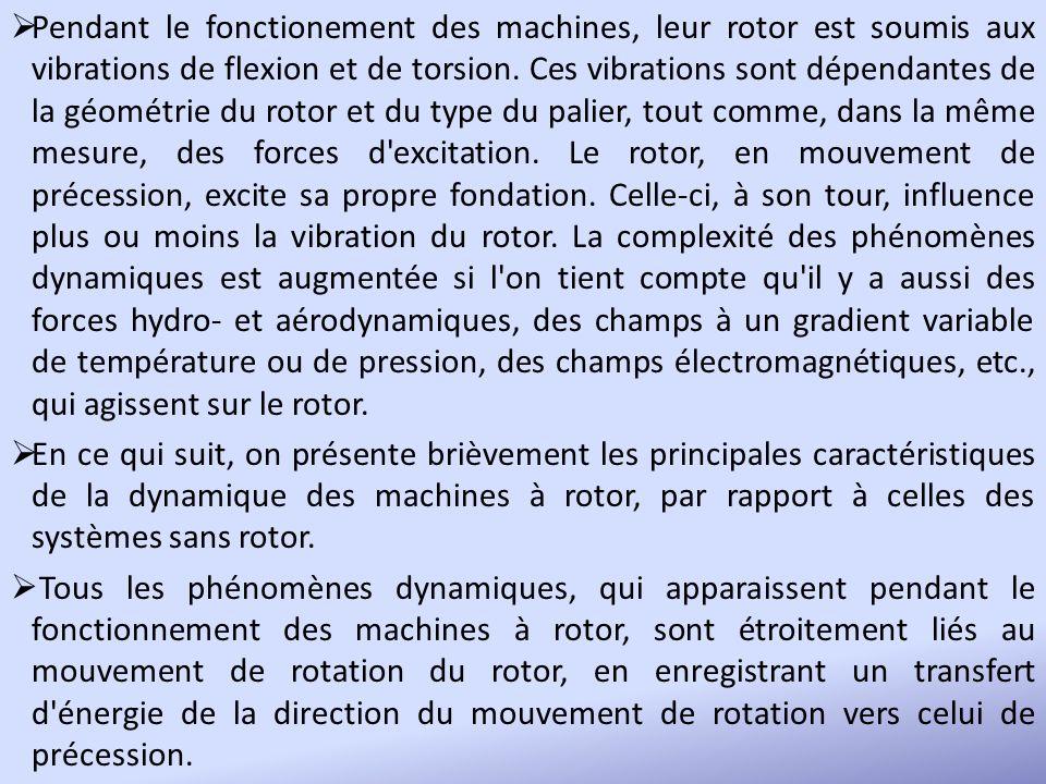 Pendant le fonctionement des machines, leur rotor est soumis aux vibrations de flexion et de torsion. Ces vibrations sont dépendantes de la géométrie