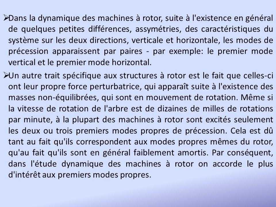 Dans la dynamique des machines à rotor, suite à l'existence en général de quelques petites différences, assymétries, des caractéristiques du système s