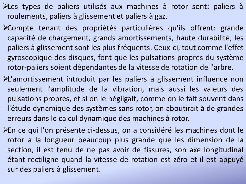 Les types de paliers utilisés aux machines à rotor sont: paliers à roulements, paliers à glissement et paliers à gaz. Compte tenant des propriétés par