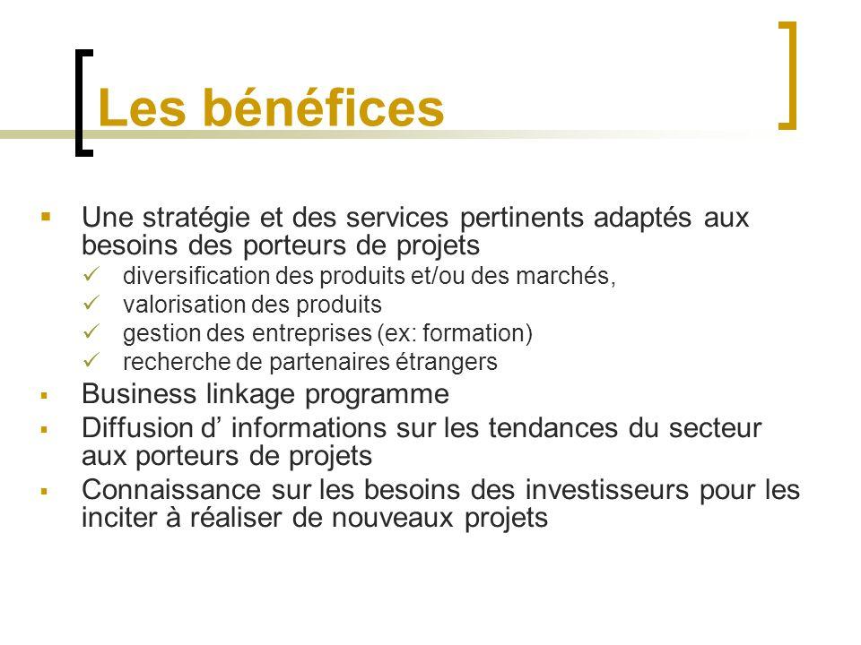 Les bénéfices Une stratégie et des services pertinents adaptés aux besoins des porteurs de projets diversification des produits et/ou des marchés, val