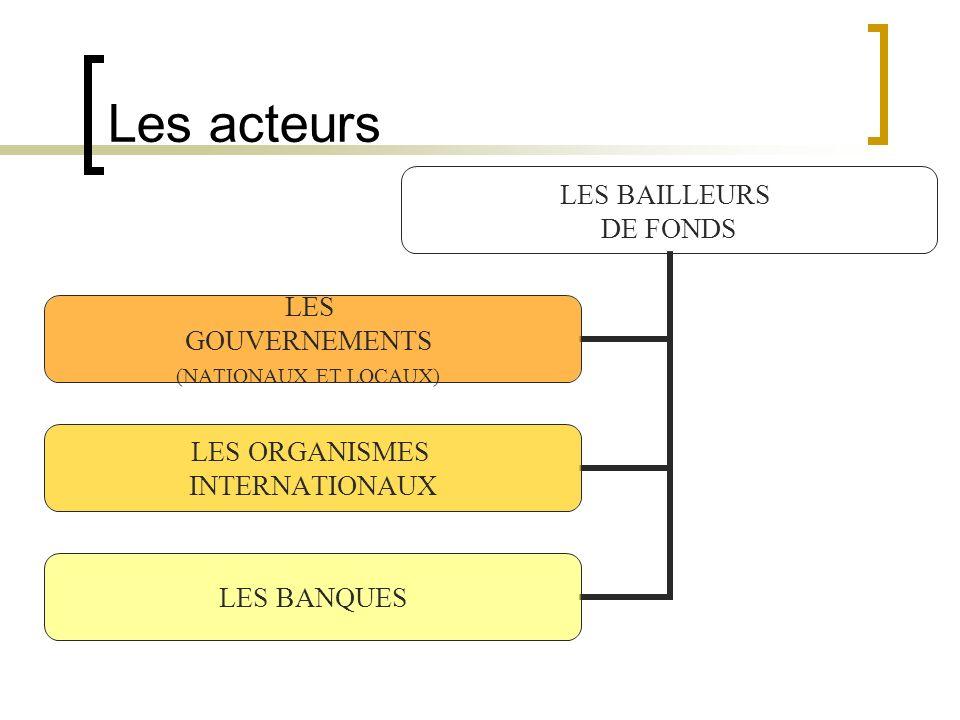 Les acteurs LES BAILLEURS DE FONDS LES GOUVERNEMENTS (NATIONAUX ET LOCAUX) LES ORGANISMES INTERNATIONAUX LES BANQUES