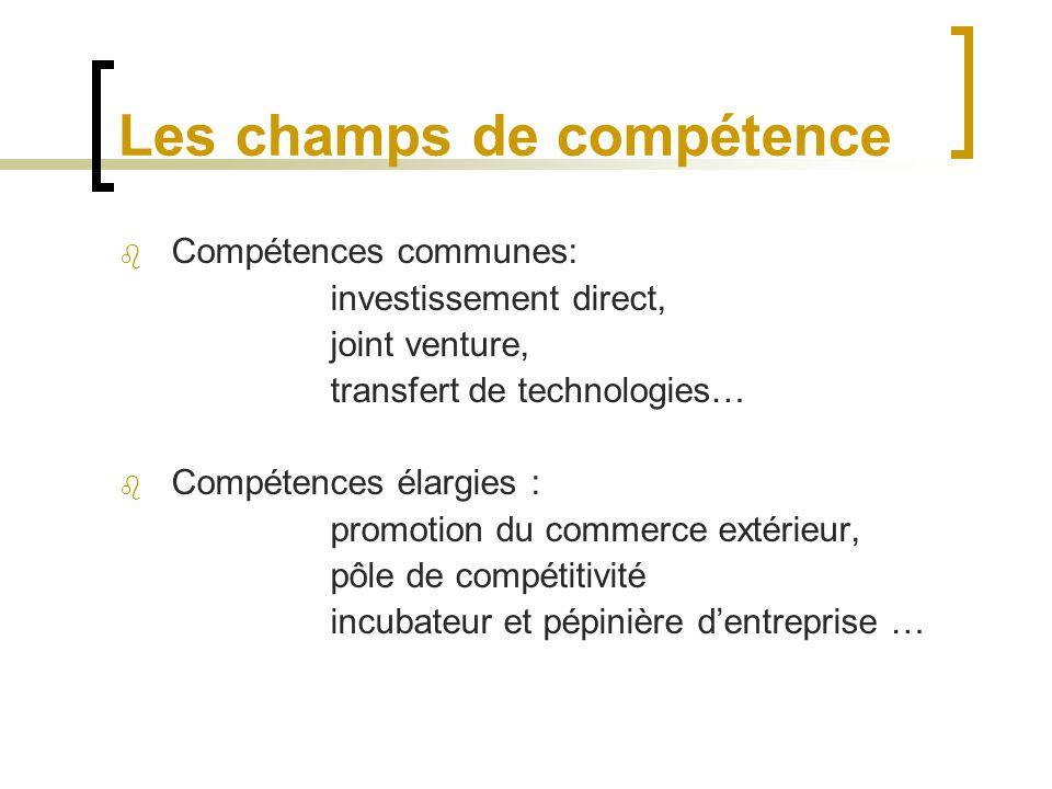 Les champs de compétence Compétences communes: investissement direct, joint venture, transfert de technologies… Compétences élargies : promotion du commerce extérieur, pôle de compétitivité incubateur et pépinière dentreprise …