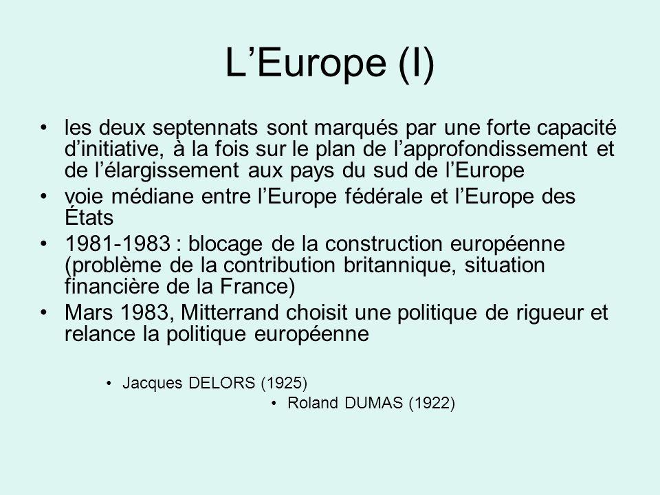 LEurope (I) les deux septennats sont marqués par une forte capacité dinitiative, à la fois sur le plan de lapprofondissement et de lélargissement aux pays du sud de lEurope voie médiane entre lEurope fédérale et lEurope des États 1981-1983 : blocage de la construction européenne (problème de la contribution britannique, situation financière de la France) Mars 1983, Mitterrand choisit une politique de rigueur et relance la politique européenne Jacques DELORS (1925) Roland DUMAS (1922)