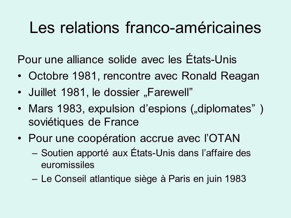 Les relations franco-américaines Pour une alliance solide avec les États-Unis Octobre 1981, rencontre avec Ronald Reagan Juillet 1981, le dossier Farewell Mars 1983, expulsion despions (diplomates ) soviétiques de France Pour une coopération accrue avec lOTAN –Soutien apporté aux États-Unis dans laffaire des euromissiles –Le Conseil atlantique siège à Paris en juin 1983