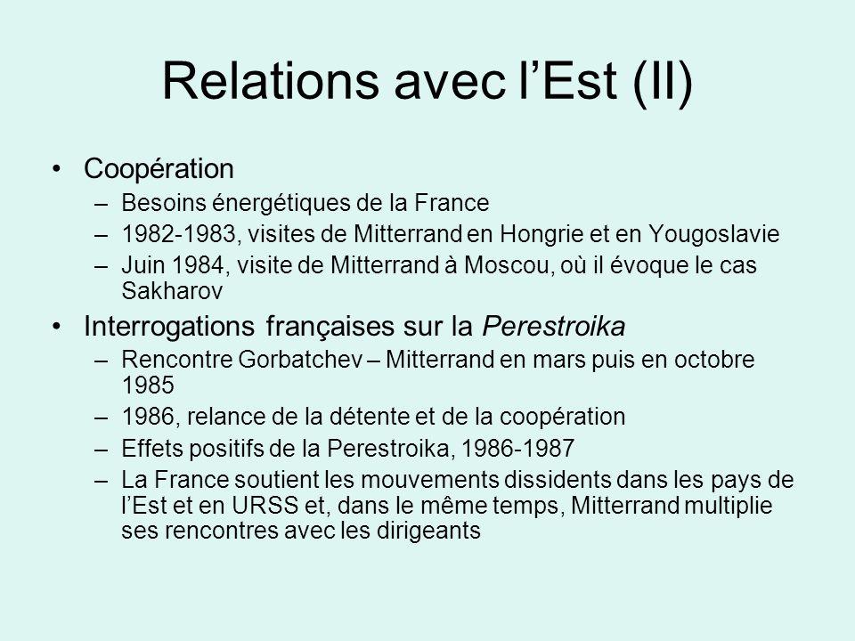 Relations avec lEst (II) Coopération –Besoins énergétiques de la France –1982-1983, visites de Mitterrand en Hongrie et en Yougoslavie –Juin 1984, visite de Mitterrand à Moscou, où il évoque le cas Sakharov Interrogations françaises sur la Perestroika –Rencontre Gorbatchev – Mitterrand en mars puis en octobre 1985 –1986, relance de la détente et de la coopération –Effets positifs de la Perestroika, 1986-1987 –La France soutient les mouvements dissidents dans les pays de lEst et en URSS et, dans le même temps, Mitterrand multiplie ses rencontres avec les dirigeants