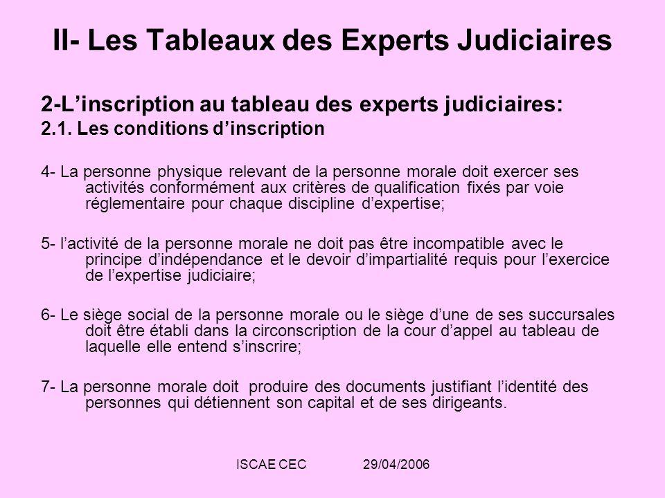 ISCAE CEC 29/04/2006 II- Les Tableaux des Experts Judiciaires 2-Linscription au tableau des experts judiciaires: 2.1. Les conditions dinscription 4- L