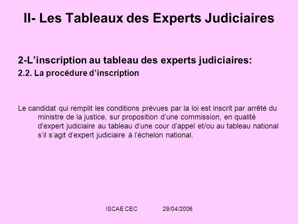 ISCAE CEC 29/04/2006 II- Les Tableaux des Experts Judiciaires 2-Linscription au tableau des experts judiciaires: 2.2. La procédure dinscription Le can