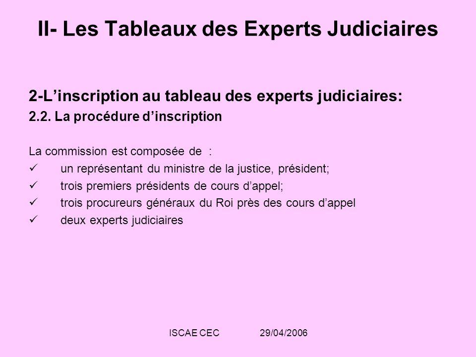 ISCAE CEC 29/04/2006 II- Les Tableaux des Experts Judiciaires 2-Linscription au tableau des experts judiciaires: 2.2. La procédure dinscription La com