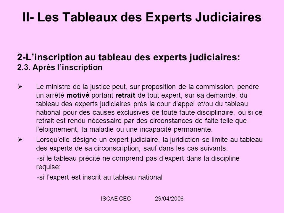 ISCAE CEC 29/04/2006 II- Les Tableaux des Experts Judiciaires 2-Linscription au tableau des experts judiciaires: 2.3. Après linscription Le ministre d