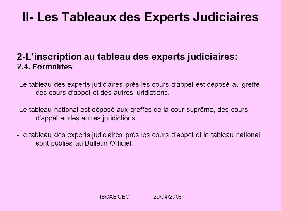 ISCAE CEC 29/04/2006 II- Les Tableaux des Experts Judiciaires 2-Linscription au tableau des experts judiciaires: 2.4. Formalités -Le tableau des exper